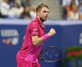 Sep 7, 2016; New York, NY, USA; Stan Wawrinka of Switzerland reacts during the match against Juan Martin Del Potro of Argentina on day ten of the 2016 U.S. Open tennis tournament at USTA Billie Jean King National Tennis Center. Mandatory Credit: Jerry Lai-USA TODAY Sports